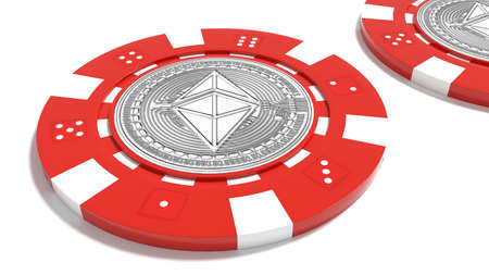 Ethereum symbol on a red poker chip cryptocurrency risk concept 3D illustration