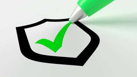 Green pen setting a checkmark in a black shield symbol cybersecurity concept 3D illustration