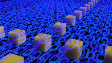 Blue flat chains with binary texture and multiple layers and floating yellow cubes blockchain concept 3D illustration