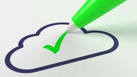 Green pen putting a checkmark in a dark cloud symbol cloud computing 3D illustration