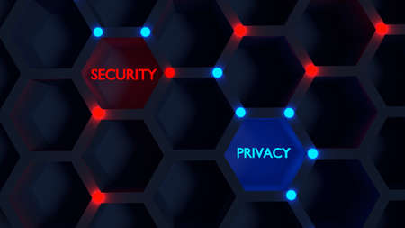 Security privacy balance concept black hexagon grid with glowing nodes 3D illustration