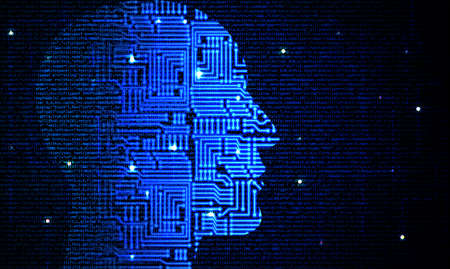 Head with circuit pattern fading into computercode deep leaning concept illustration