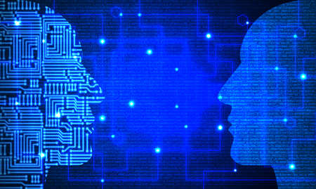 Two heads with circuit and blue code pattern facing each other deep learning concept Foto de archivo