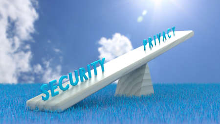 White seesaw with security on one and privacy on the other side in front of blue grass and sky cybersecurity concept 3D illustration