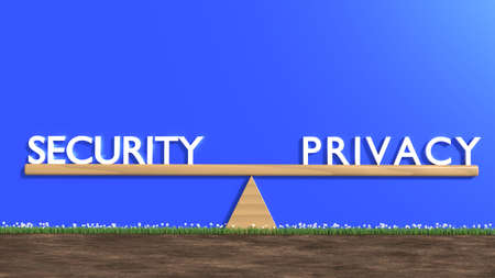 Wooden seesaw with security on one and privacy on the other side cybersecurity concept 3D illustration