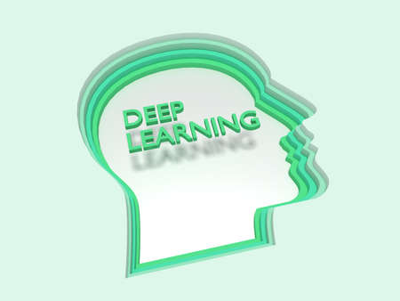 Four layers of green head shapes papercut style deep learning concept 3D illustration Stok Fotoğraf