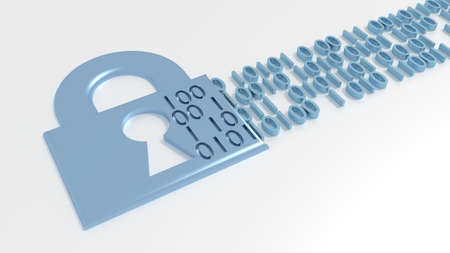 Padlock with a keyhole leaking binary streams data breach concept 3D illustration Stok Fotoğraf