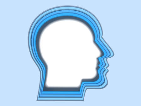Four layers of blue head shapes papercut style deep learning concept 3D illustration