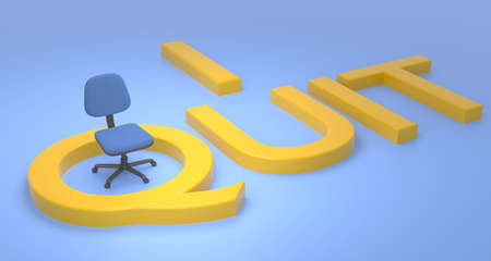 Blue chair standing inside of the Q of the yellow phrase I quit 3D illustration