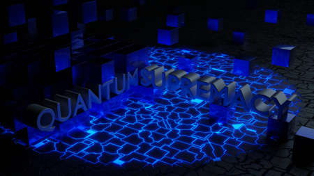 Metallic cubes floating on top of a circuit with a blue spreading light quantum supremacy concept 3D illustration