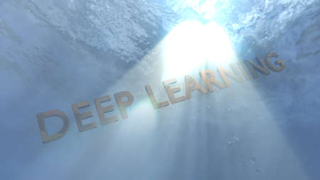 The words deep learning under water education concept 3d illustration