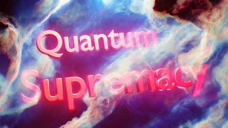 Quantum supremacy concept red words floating in space 3D illustration Stok Fotoğraf