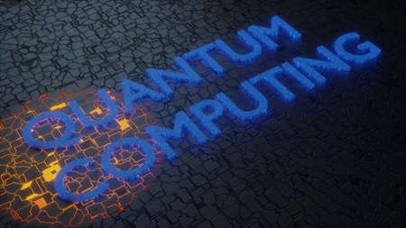 The words Quantum Computing on a glowing circuit board 3D illustration