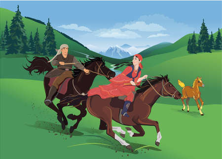 Young man and woman galloping on horseback against the backdrop of a green landscape of mountains. Spring Vector illustration Illustration