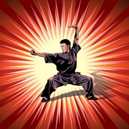 Art of wushu. A man practicing martial arts Wushu, kung fu, karate. Decorative red background. Vector illustration.