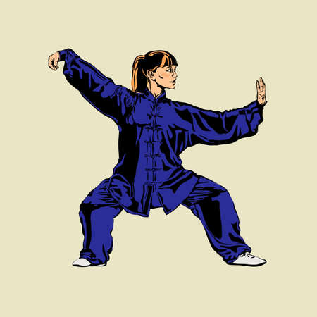 Girl woman showing Wushu sports position, kung fu isolated on white background. Art of wushu. Vector illustration.