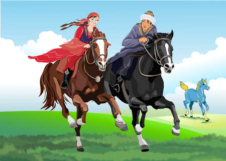 A man and a woman on horseback galloping in a romantic field prairie grass with a foal. Traditional game vector design.