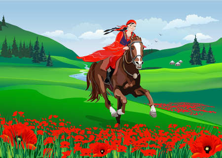 Young cute girl - riding a horse with backlit mountains behind in spring time. Nauryz holiday and a field of red poppies. Vector illustration