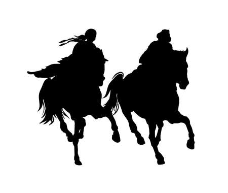 Man and woman on horseback. Black and white vector silhouette. Illustration