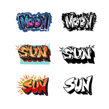 Set of words drawing in comics, graffiti style. Text Sun, Moon. Black and white . The inscription marker. Vector. Stock Illustratie
