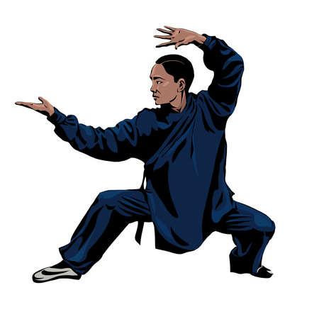 Vector illustration. Man practice Wushu or kung fu and Taekwondo isolated on white background.