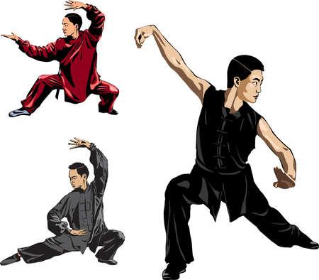 Wushu, kung fu, taekwondo. Men show posture fighting stance Wushu. Slow motion technique. Vector illustration.