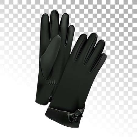 Women's leather black gloves. Vector illustration. Иллюстрация
