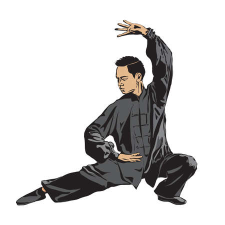 Male showing the rack position Wushu. Art of wushu. Vector illustration. Vectores