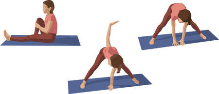 Athletic young woman doing yoga and fitness exercises. Healthy lifestyle. Vector illustration