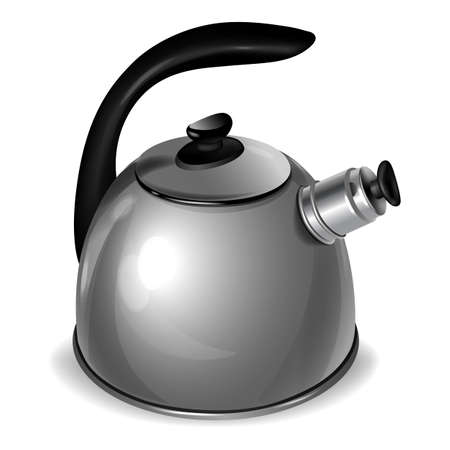 Metal kettle isolated on white background. Tea pot. Chai. Vector illustration