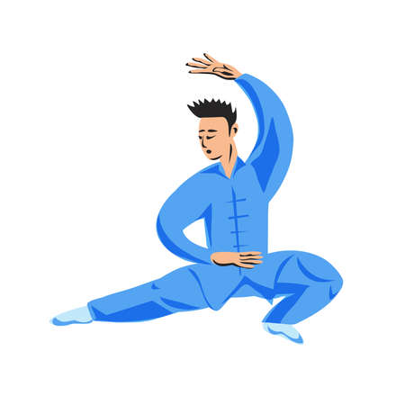 A man shows performing a kung fu wushu stand isolated on a white background. Vector illustration.