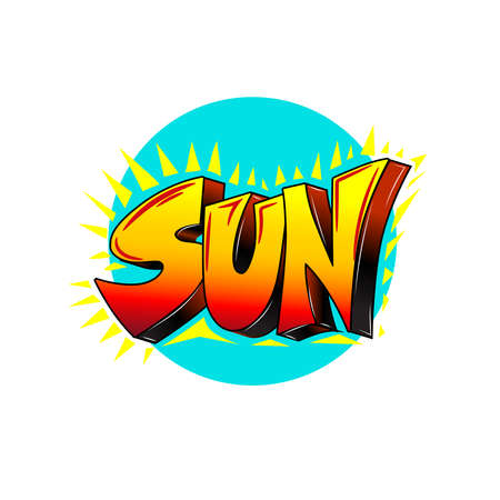 Set of words drawing in comics, graffiti style. Text sun. Vector.