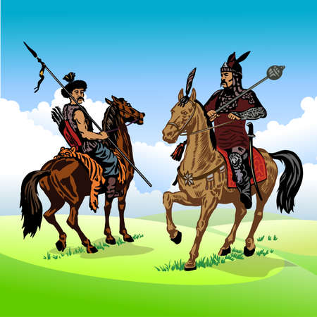Ancient soldiers of the East, Asia in a traditional suit on a horse in the steppe. Vector illustration