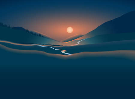 Vector illustration. Night landscape with mountains, moon and river. Sunset. Rising. Иллюстрация