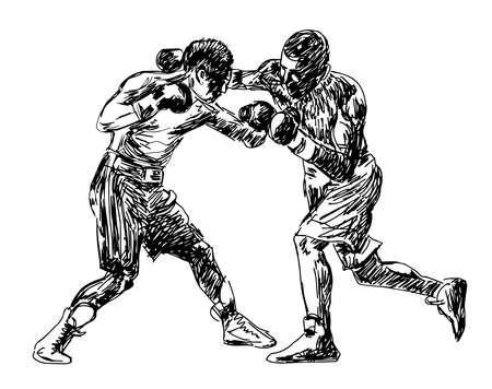 Boxing Boxers fight duel Isolated on a white background. Black and white graphics. Vector illustration