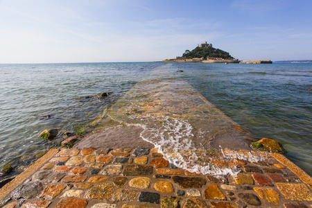 Walkway leading to st michael mount in the morning photo