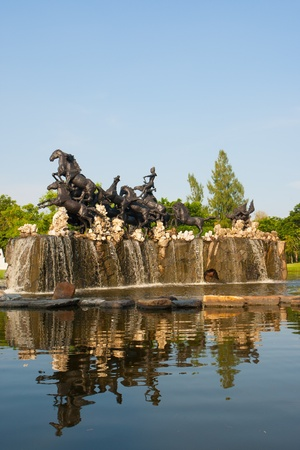 Many horses statue on yhe fountain Stock Photo