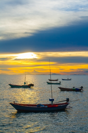 Fishing boats at sunset in Chantaburi, Thailand