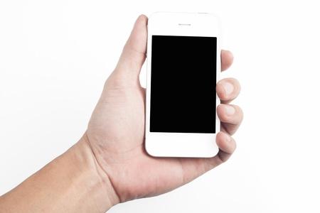 Hand holding white smart phone Stock Photo - 15648526