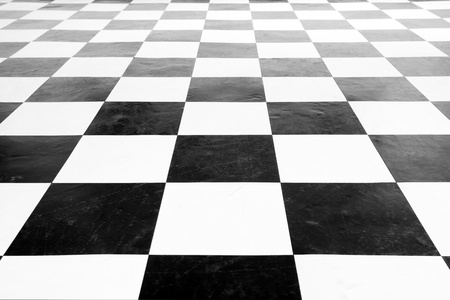 Vintage square black and white floor with wall row