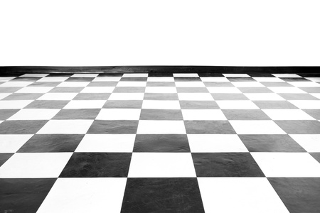 checker: Vintage square black and white floor with wall