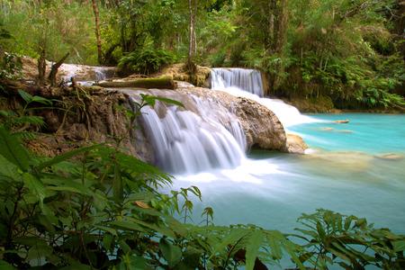 Kuang Si Waterfalls with blue colors water, Luang Prabang, Laos