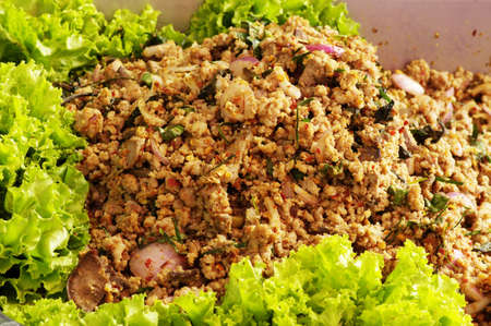 larb pork of thai food Stock Photo
