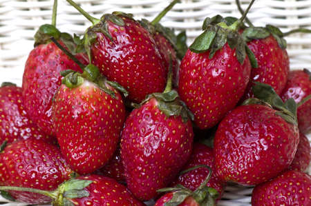 fresh strawberries on white basket