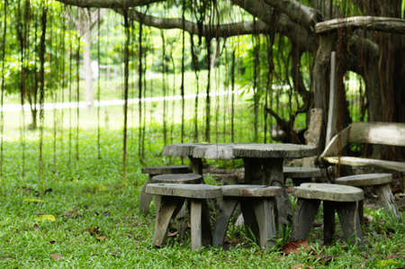 table and chair in cozy park Stock Photo - 9567406