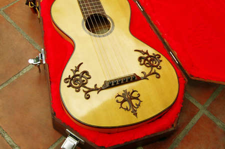 Romantic guitar in red case Stock Photo - 9567440