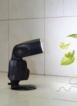 camera flash in wireless mode Stock Photo