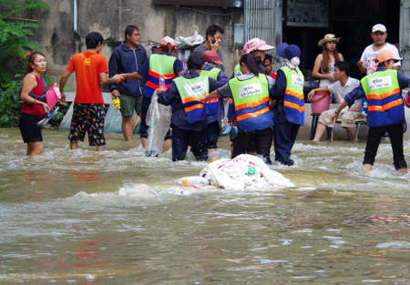 reliefs: BANGKOK - OCT 30: Unidentified residents of Bangkok