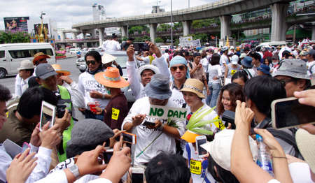 Bangkok,Thailand - September 22,2013   Protesters hold an anti-Mae Wong Dam rally  The protesters known as Stop EHIA Mae wong Dam by walking 388 Km  from Mae wong to Bangkok