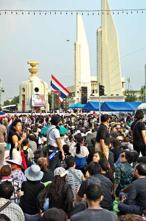 BANGKOK,Thailand - NOVEMBER 11,2013   Anti-government protesters at the Democracy Monument in Bangkok, Thailand  The protest Against The Amnesty bill in Bangkok, capital of Thailand